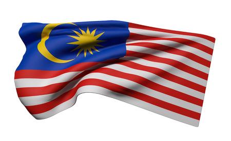 白い背景に手を振るマレーシアの国旗の 3 d レンダリング