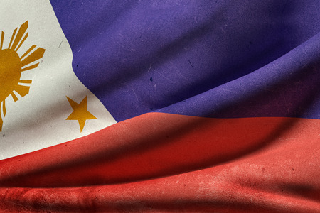 filipino: 3d rendering of an old Republic of the Philippines flag waving Stock Photo