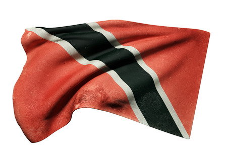 3d rendering of Republic of Trinidad and Tobago flag waving on white background Stock Photo