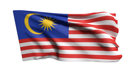 3d rendering of Malaysia flag waving on white background Фото со стока
