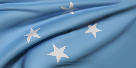 federated: 3d rendering of  Federated States of Micronesia flag waving