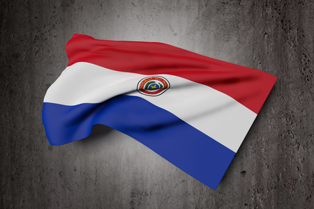 bandera de paraguay: 3d rendering of Republic of Paraguay flag waving on dirty background