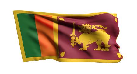 白い背景の上を振っているスリランカ スリランカ民主社会主義共和国の旗の 3d レンダリング