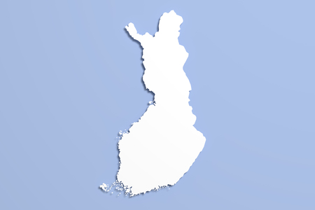 frontage: 3d rendering of a Finland map on blue background.