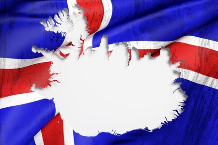 the icelandic flag: 3d rendering of Iceland map and flag on background.