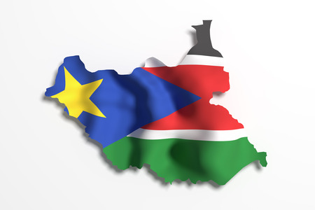 national geographic: 3d rendering of South Sudan map and flag.