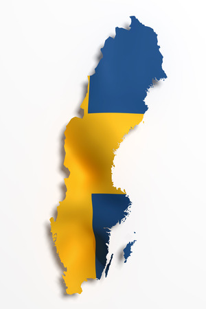 3d rendering of Sweden map and flag on background. Stock Photo