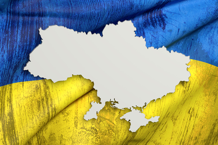 3d rendering of Ukraine map and old flag on background.