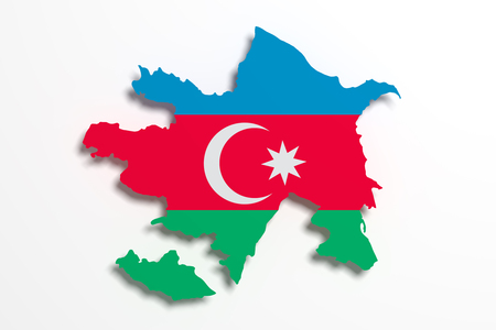 west asia: 3d rendering of Azerbaijan map and flag