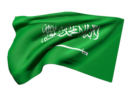 3d rendering of Kingdom of Saudi Arabia flag waving on white background Stockfoto