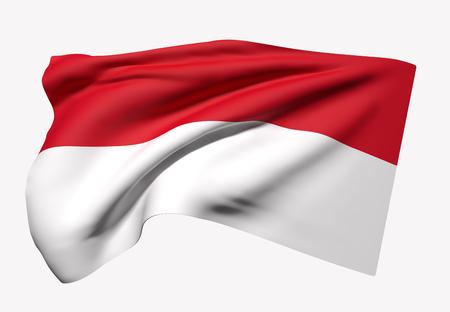 白い背景の上を振っているインドネシア共和国旗の 3 d レンダリング 写真素材