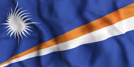 marshall: 3d rendering of   Republic of the Marshall Islands flag waving
