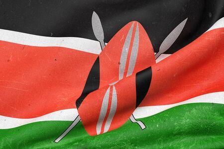 nairobi: 3d rendering of old Kenya flag waving