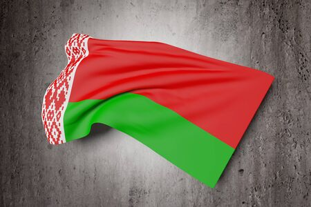 national geographic: 3d rendering of Belarus flag waving on a dirty background Stock Photo