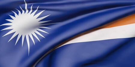 3d rendering of   Republic of the Marshall Islands flag waving
