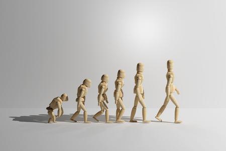 Rendu 3d de jouets en bois mannequin prototype de l'évolution humaine. Copyspace. Banque d'images - 65936711