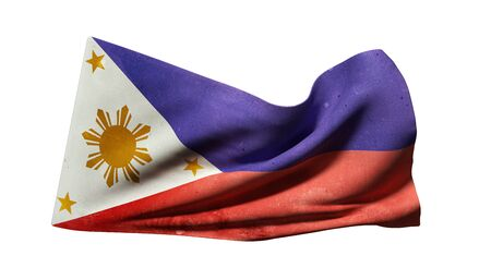3d rendering of an old Republic of the Philippines flag waving on white background Stock Photo