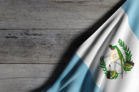 bandera de guatemala: Las 3D de la bandera de Guatemala ondeando en la superficie de madera