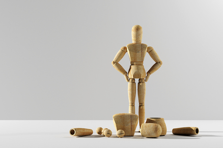 3d rendering of wooden mannequin prototype of human standing and looking at camera. Copyspace.