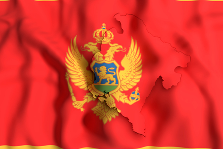 3d rendering of Montenegro map and flag on background.