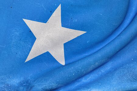 3d rendering of an old and dirty Somalia flag waving
