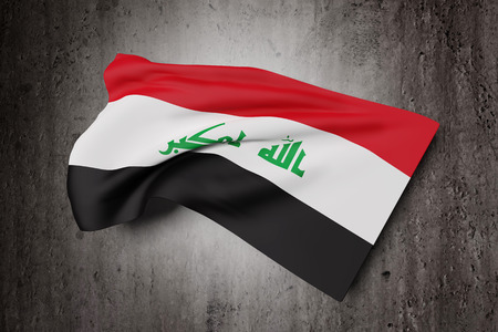 iraqi: 3d rendering of Republic of Iraq flag waving on a dirty background
