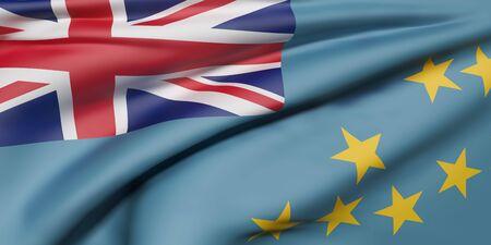 3d rendering of  Tuvalu flag waving Stock Photo