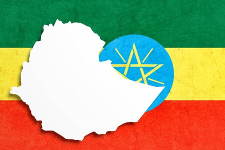 national geographic: 3d rendering of Ethiopia map and flag.