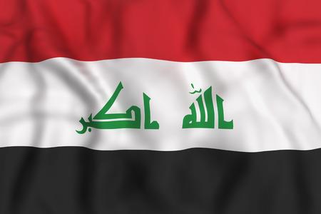 iraq flag: 3d rendering of Republic of Iraq flag waving