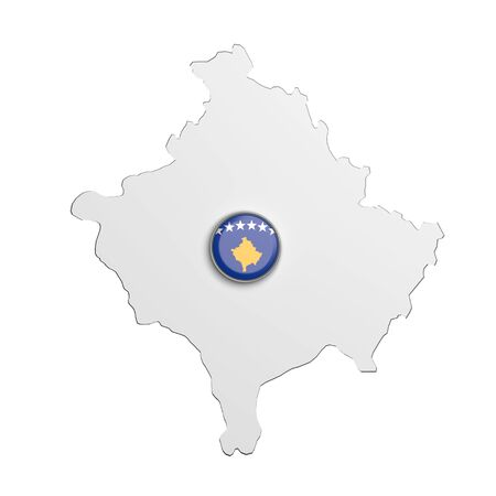 boundaries: 3d rendering of Kosovo boundaries and button with flag on white background.
