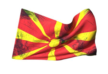 3d rendering of a close-up of a dirty Macedonia flag waving