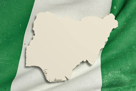 nigeria: 3d rendering of Nigeria map and flag.