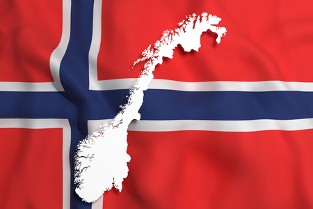 frontage: 3d rendering of Norway map and flag on background.