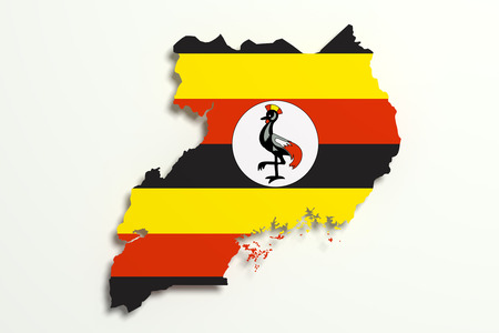 national geographic: 3d rendering of Uganda map and flag. Stock Photo