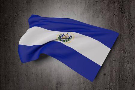 bandera de el salvador: 3d rendering of Republic of El Salvador flag waving on a dirty background