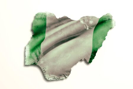 3d rendering of Nigeria map and flag.