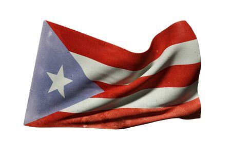 bandera de puerto rico: Representación 3d de una vieja bandera de Puerto Rico ondeando en el fondo blanco Foto de archivo