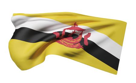 3d rendering of Nation of Brunei flag waving