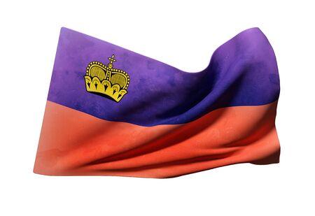 3d rendering of Liechtenstein flag waving on a white background Stock Photo