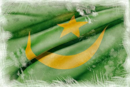 arabe: 3d prestación de un viejo y sucio de la bandera de Mauritania ondeando