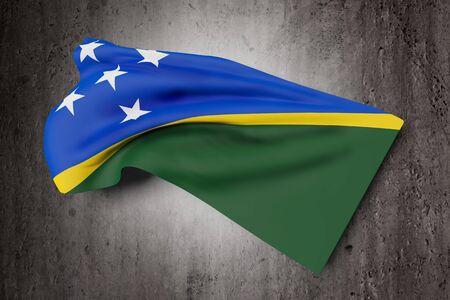 solomon: 3d rendering of Solomon Islands flag waving on dirty background