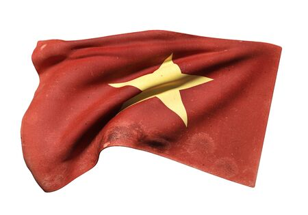 3d rendering of an old Socialist Republic of Vietnam flag waving on white background