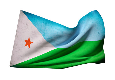 djibouti: 3d rendering of old Djibouti flag waving on a white background Stock Photo