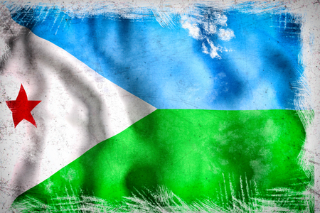 djibouti: 3d rendering of Djibouti flag waving