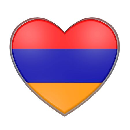 3d rendering of an Armenia flag on a heart. White background Stock Photo