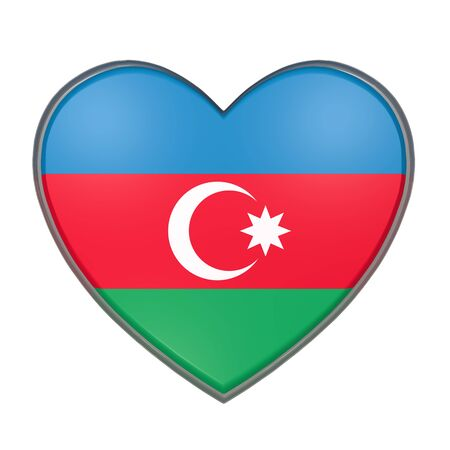 west asia: 3d rendering of an Azerbaijan flag on a heart. White background