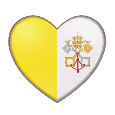 3d rendering of a Vatican City flag on a heart. White background