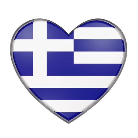 hellenic: 3d rendering of a Greece flag on a heart. White background