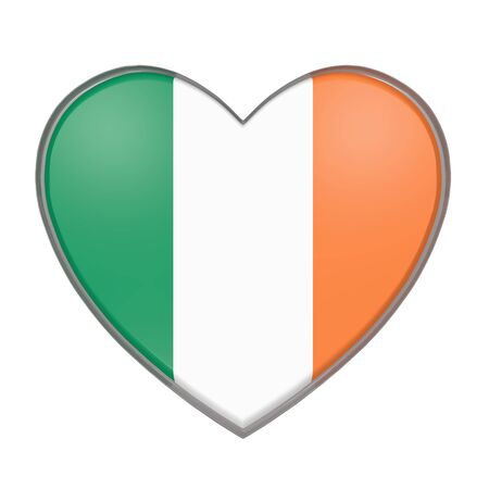 3d rendering of a Republic of Ireland flag on a heart. White background