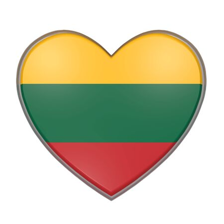 3d rendering of a Lithuania flag on a heart. White background